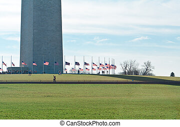 Base Washington Monument Surrounded American Flags -...