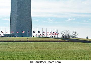 Base Washington Monument Surrounded American Flags -...