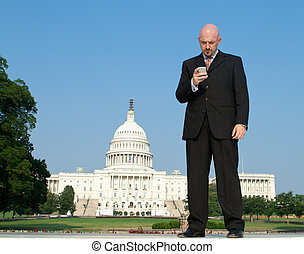 White Businessman Smart Phone Capitol Wash DC US -...