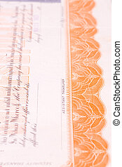 Detail of USA Stock Certificate Ornate Border - Part of a...