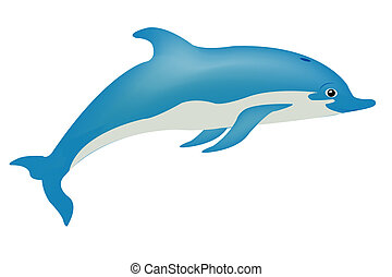 Fish dolphin on white - Sea animal dolphin on white...