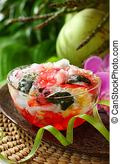 Mixed fruit dish (Es Campur) - Es campur means mixed ice. A...
