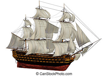 ship - a woundful old ship - isolated on white