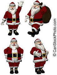 Santa Claus - a pack of Santa Claus - isolated on white