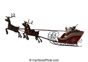 Santa Claus and his reindeers - Santa Claus is flying with...