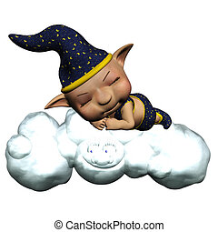 the sandman sleep on the cloud - isolated on white