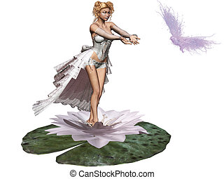 water lily - a cute fairy on the water lily