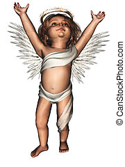 a cute guardian angel - isolated on white