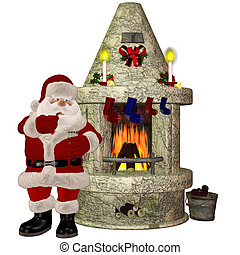 Santa Claus - santa claus on the fireplace - isolated on...