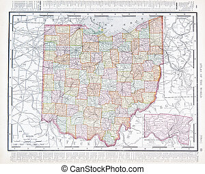 Antique Color Map of Ohio, OH, United States USA - Full...