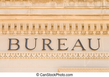 Word Bureau on Building Facade Washington DC USA