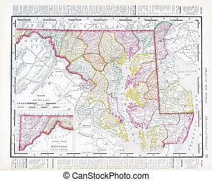 Antique Vintage Color Map Maryland Delaware, USA - Vintage...