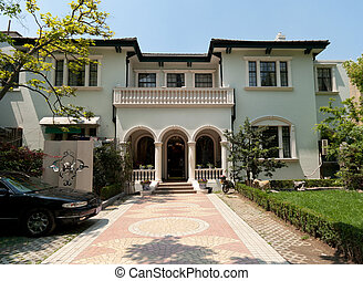 Old Mediterranean Stucco Home in Shanghai, China - Western...
