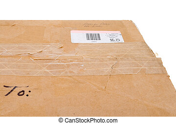 Old Cardboard Box To Metered Mail Sticker Isolated