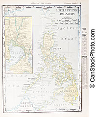 Antique Vintage Color Map of Philippine Islands - Map of the...