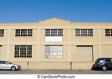 Exterior of Old Warehouse, Street, Parked Cars, Blue Sky -...