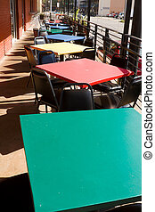Colorful Tables Chairs Outdoor Restaurant Cafe USA - Square...