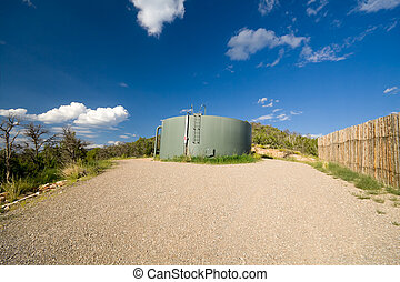 Water Tank Hill Blue Sky New Mexico United States - Wide...