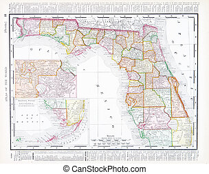 Antique Map of Florida, FL, United States, USA