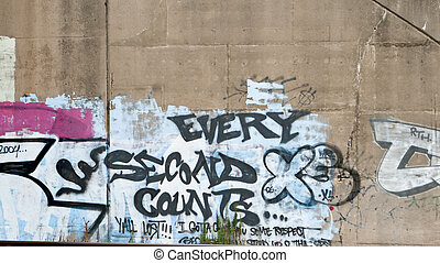 Every Second Counts Graffiti on Cement Wall - Graffiti about...