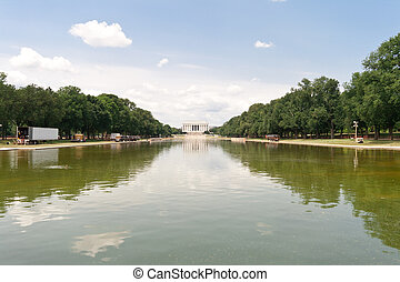Reflecting Pool Lincoln Memorial Washington DC - Reflecting...