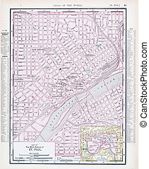 Antique Street City Map St. Paul, Minnesota, USA - Vintage...