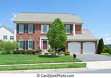 Brick Faced Single Family Home, Suburban Maryland - Modern...