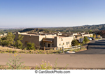 Single Family Adobe Homes Santa Fe New Mexico, USA - Group...