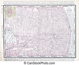 Detailed Street City Map, St. Louis, Missouri, USA