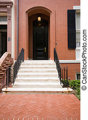 Doorway of Brick Row Home in Washington DC, USA