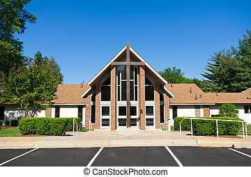 exterior, moderno, iglesia, grande, cruz