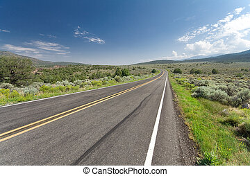 Curving Empty Two Lane Desert Road New Mexico USA - Wide...