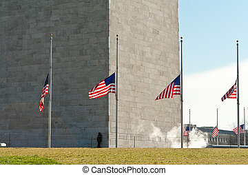 Washington Monument Surrounded Flags Half Mast - Base of the...