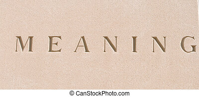 Word quot;Meaningquot; Carved in Sandstone Stone - single...