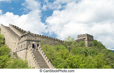 Mutianyu Great Wall, Blue Sky, Near Beijing, China - Looking...