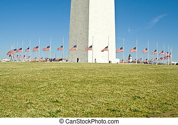 Circle of Flags at Half Mast Washington Monument -...