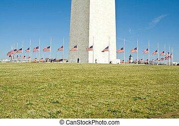 Circle of Flags at Half Mast Washington Monument -...