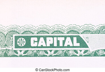 Old American Stock Certificate Word Capital USA - Close up...
