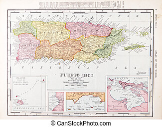 Antique Vintage Color Map of Puerto Rico - Color map of...