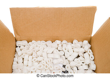 Box Styrofoam Packing Peanuts Isolated Background - Looking...