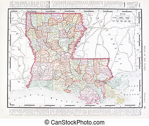 Antique Color Map of Louisiana, United States, USA - Vintage...
