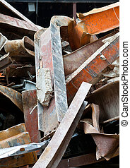 Pile Twisted Scrap Steel Girders Demolition Site - Pile of...