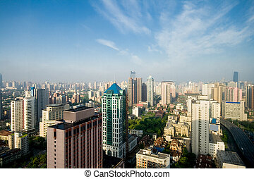 Shanghai, China Skyline, Blue Sky Haze Pollution - Shanghai...