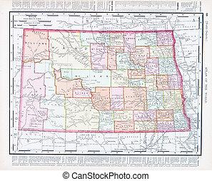 Antique Vintage Color Map of North Dakota, USA - Vintage map...