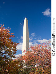 Washington Monument Autumn Framed Leaves Blue Sky - Orange...