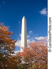 Washington Monument Autumn Framed Leaves Blue Sky - Orange...