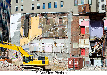 Building Demolition Underway Heavy Equipment DC - D