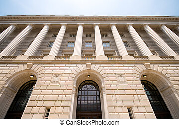 Imposing Facade of IRS Building Washington DC USA - Front of...