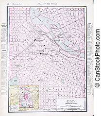 Antique Street City Map Minneapolis, Minnesota MN