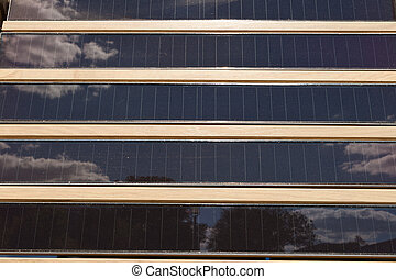 Rows of Louvered Solar Panels, Reflection Sky Trees